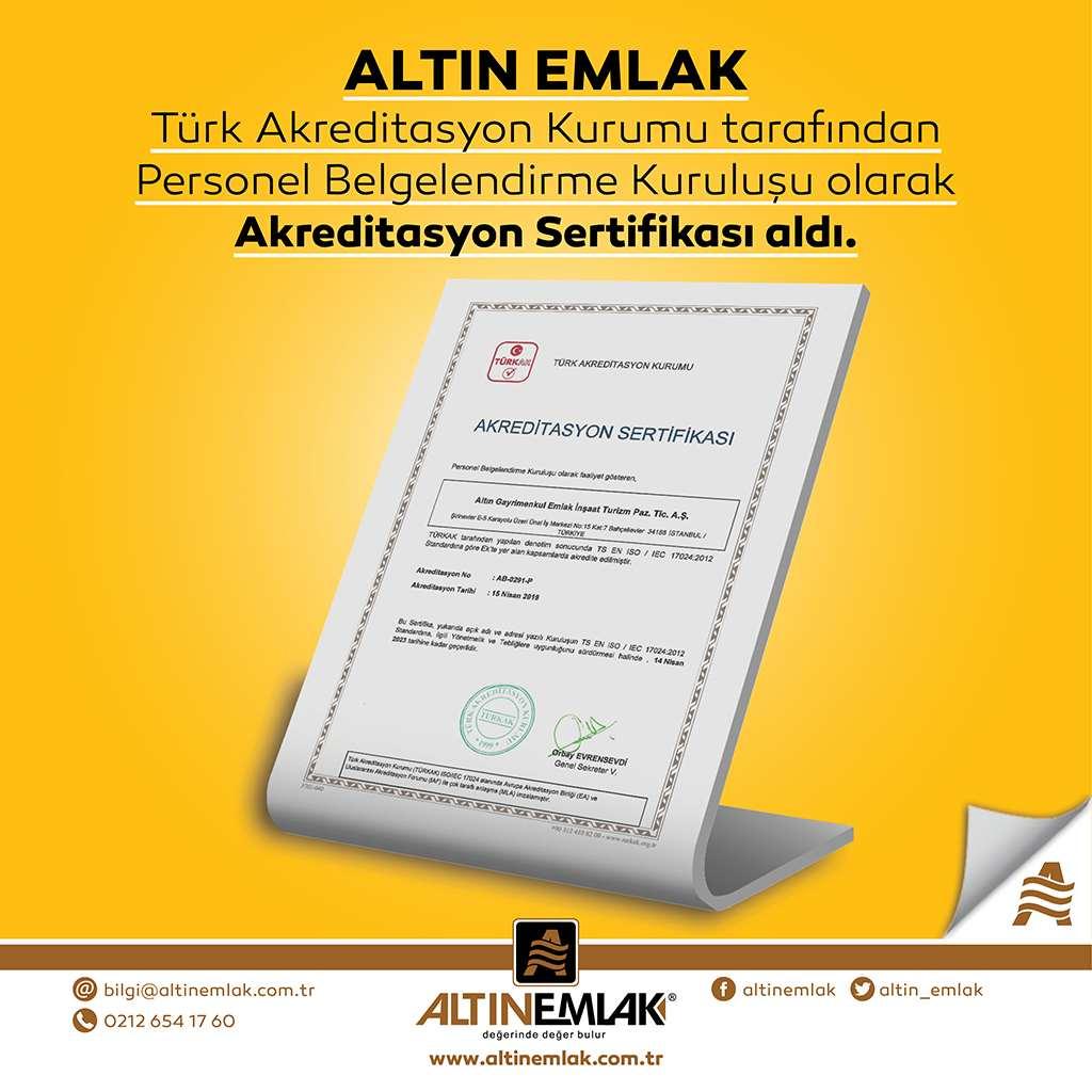 Altın Emlak, TÜRKAK Personel Belgelendirme Kuruluşu olarak akredite edildi